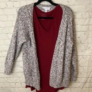 Additionelle knit colourful marled cardigan
